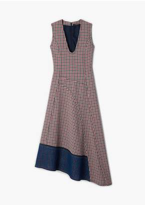 Derek Lam Low Neck Gauze Check Dress With Asymmetric Hem