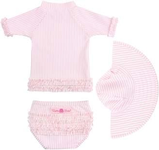 RuffleButts Seersucker Two-Piece Rashguard Swimsuit & Hat Set