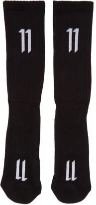 11 By Boris Bidjan Saberi Three-Pack Black Ribbed Logo Socks