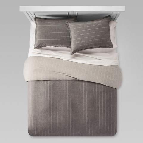 Gray Flannel Linework Duvet Cover Set