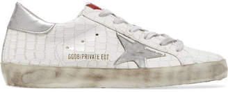 Golden Goose Deluxe Brand - Super Star Distressed Croc-effect Leather Sneakers - White $460 thestylecure.com