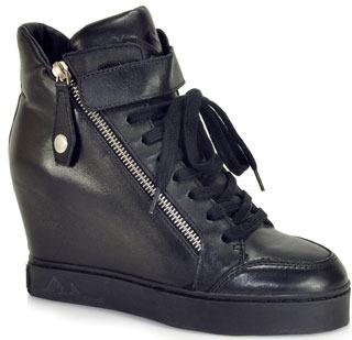 Ash Body - Black Wedge Sneakers