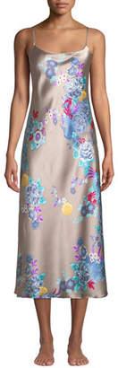 Natori Angkor Floral-Print Silk Nightgown