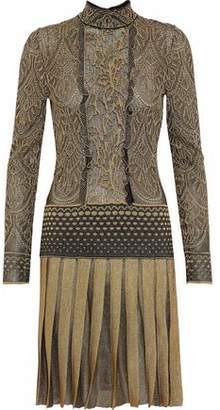 Roberto Cavalli Metallic Paneled Pleated Brocade Dress