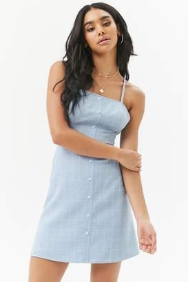 Forever 21 Slub Woven Grid Button-Front Mini Dress