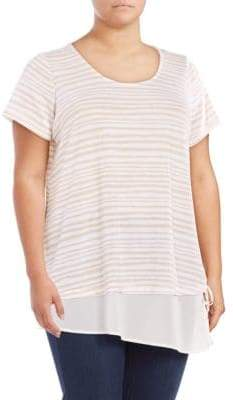 Context Plus Mock Layer Striped Top