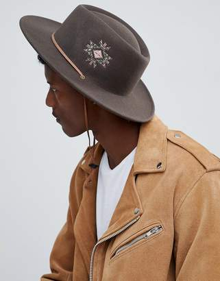 Asos Design DESIGN pork pie HAT with wide brim with embroidery and strap detail
