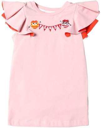 Fendi Pompoms Cotton Jersey T-Shirt W/ Ruffles