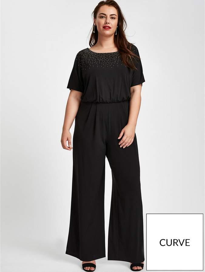 Sparkle Hot Fix Jumpsuit - Black