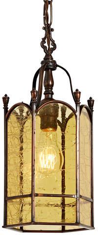 Rejuvenation Copper Colonial Entry Pendant w/ Amber Crackle Glass