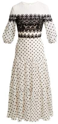 Temperley London Polka Dot Cotton Blend Midi Dress - Womens - White Black