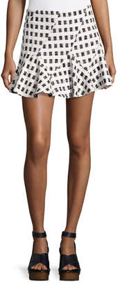 Derek Lam 10 Crosby Flared Mini Skirt W/ Lacing, Black/White