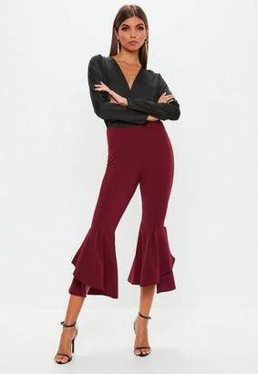 Missguided Petite Burgundy Double Frill Pants