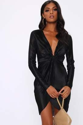 I SAW IT FIRST Black Plisse Pleated Knot Front Mini Dress