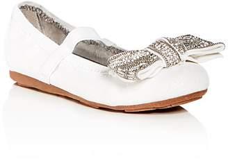 Stuart Weitzman Girls' Fannie Glitter Bow Ballet Flats - Walker, Toddler