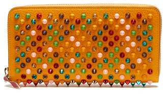 Christian Louboutin Panettone Spike Embellished Leather Wallet - Womens - Yellow Multi