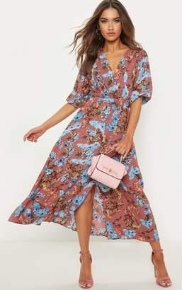 PrettyLittleThing Mauve Floral Short Sleeve Skater Midi Dress