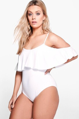 boohoo Plus Drape Sleeve Swimsuit