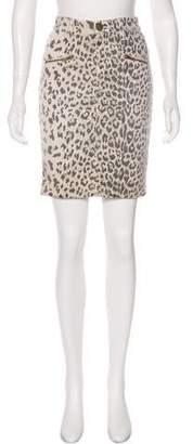 Current/Elliott Leopard Print Knee-Length Skirt
