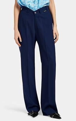 Balenciaga Women's V'd-Waist Wool Relaxed Trousers - Navy