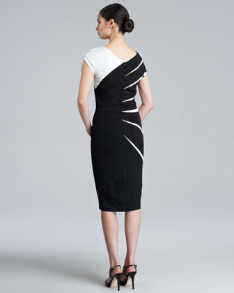 Escada Daidas Cap-Sleeve Scuba Dress, Black