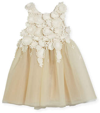 Oscar de la Renta Tulle Dress with Guipure Lace, Gold, Size 2-14