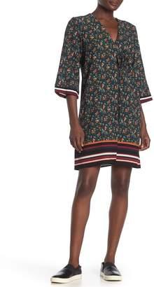 Bobeau Floral & Stripe Trim Sheath Dress