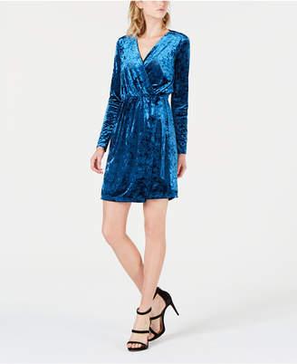 Bar III Crushed Velvet Wrap Dress