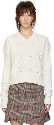 McQ Off-White Patched Cable V-Neck Sweater
