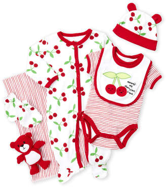 Baby Essentials Cutie Pie (Newborn Girls) 9-Piece Cherry Hanging Gift Set