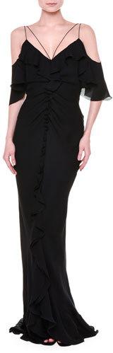 Emilio PucciEmilio Pucci Flutter-Sleeve Cold-Shoulder Gown, Black