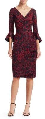 Chiara Boni Triana Printed Bell-Sleeve Sheath Dress
