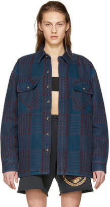 Yeezy Blue and Burgundy Classic Flannel Shirt
