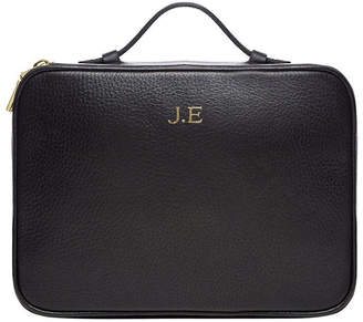 Grainy Black Cosmetic Wash Bag with Handle (Gold Zip)