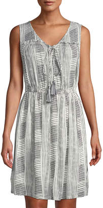 Joan Vass Striped Gauze Lace-Up Midi Dress
