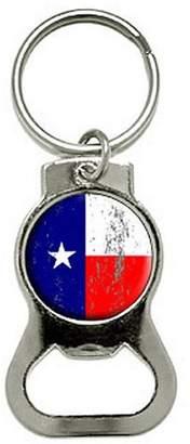 Generic Texas Flag Distressed Bottle Cap Opener Keychain Key Ring