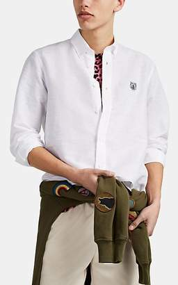Kenzo Men's Tiger-Embroidered Linen-Cotton Shirt - White