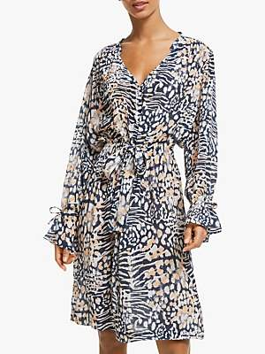 28adff20c5c5 Pyrus Frankie Animal Print Dress, Navy/Peach