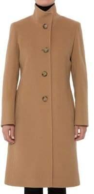 Cinzia Rocca Long Mock Neck Wool-Blend Coat