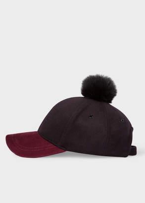 Paul Smith Women's Black and Burgundy Wool Pom-Pom Cap
