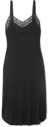 Eberjey Kaia Lace-trimmed Ribbed Jersey Nightdress - Black