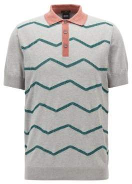 BOSS Hugo Slim-fit polo-style sweater zigzag embroidery M Open Grey