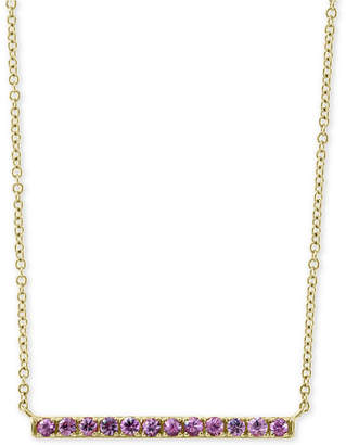 """Effy Pink Sapphire Horizontal Bar 18"""" Pendant Necklace (5/8 ct. t.w.) in 14k Gold"""