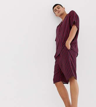 Asos DESIGN woven pyjama set in navy & red stripe