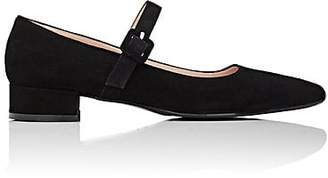 Barneys New York WOMEN'S SUEDE MARY JANE FLATS - BLACK SIZE 5