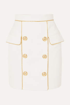 Balmain Button-embellished Woven Mini Skirt - White