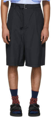 3.1 Phillip Lim Navy Relaxed Pleated Belt Shorts