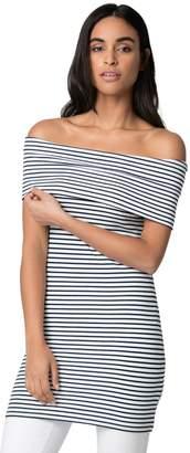 Le Château Women's Stripe Off-The-Shoulder Top,XL