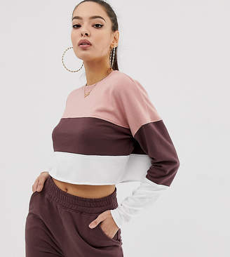 Missguided co-ord contrast panel cropped sweat in beige