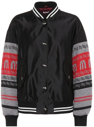 Miu Miu Satin and wool varsity jacket